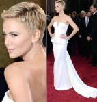 Charlize Theron looked incredible with this haircut and dress... but there are few women who would dare wear this to a wedding.