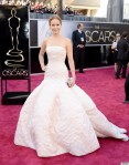 So Jennifer Lawrence's dress was actually pink in the front and white in the back. Of all of these, this looks the most bridal -- and also, as we saw, the most dangerous