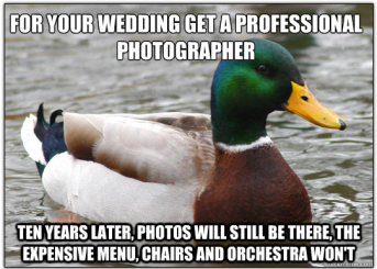 Duck advice wedding photographer